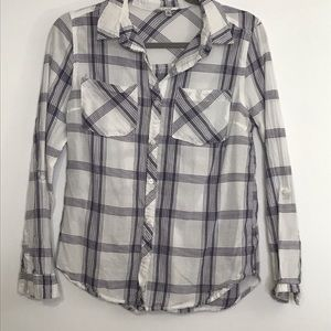 Papaya blouse medium button down shirt plaid
